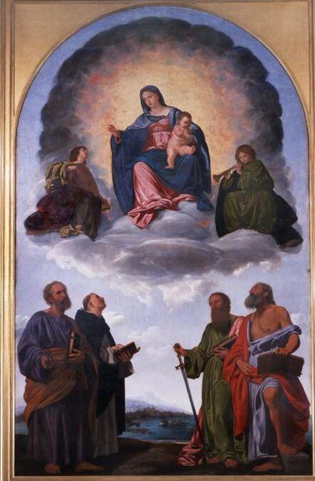 Giovanni Girolamo Savoldo, 'Madonna and Child in Glory, two Angels and Saints Peter, Dominic, Paul and Jerome (Pala Pesaro)', 1524-1526