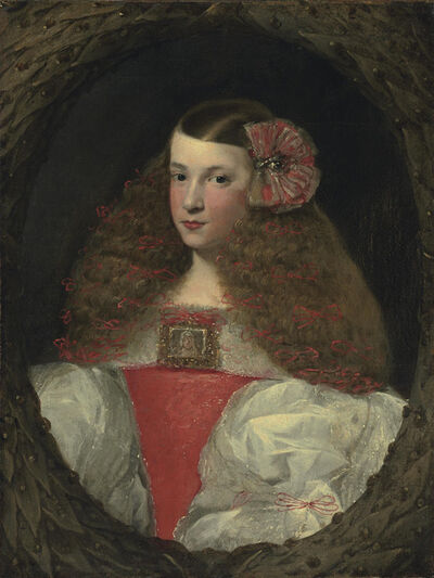 Attributed to Sebastián de Herrera Barnuevo, 'Portrait of a young girl, half-length, in a feigned wreath', Likely ca. 1670