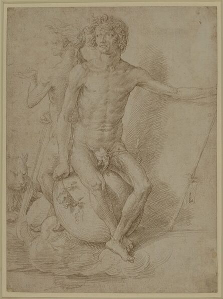 Lucas van Leyden, 'Two nude allegorical figures seated back-to-back on a sphere', c. 1516