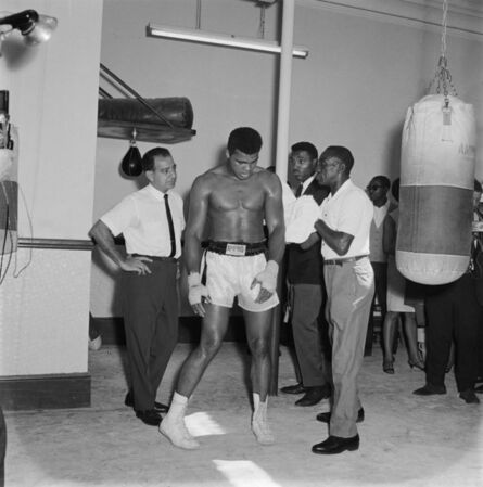 James Barnor, 'Mohammed Ali preparing his fight against Brian London (Trainer Angelo Dundee and coach, Eddie Futch), Earls Court, London, August 1966', 2019