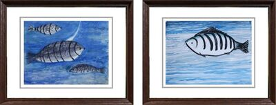 """Kartick Chandra Pyne, 'Underwater Series, Watercolour on Paper (Set of Two) by Modern Artist """"In Stock""""', ca. Circa"""
