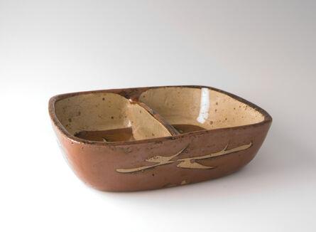 Shōji Hamada, 'Oval dish, kaki glaze with wax resist brushwork', 1945