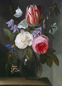 Jan Philips van Thielen, 'Roses and a Tulip in a Glass Vase', ca. 1650/1660