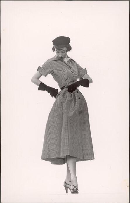 Gjon Mili, 'Model Dorian Leigh Wearing Pin-Point Taffeta Dress with Full Skirt by Mollie  Parnis. Long Black Gloves', 1950