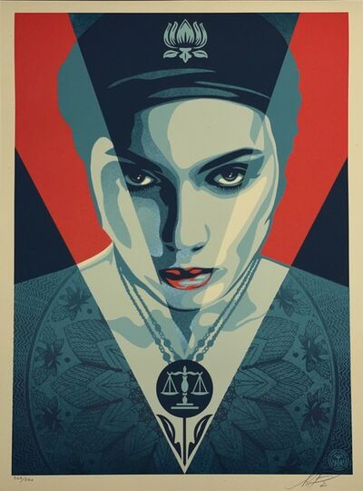 Shepard Fairey, 'Shepard Fairey S/N Oil Lotus Woman Red Edition Street Art Contemporary 2021 Obey Giant', 2021