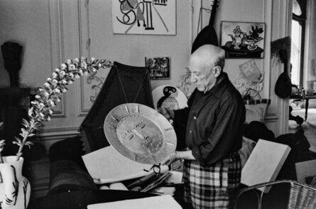 """Edward Quinn, 'Pablo Picasso with silver plate """"Le dormeur"""". La Californie, Cannes ', 1957"""