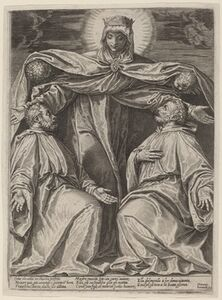 Agostino Carracci, 'The Madonna Protecting Two Members of a Confraternity', 1582