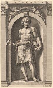 Hendrik Goltzius after Polidoro da Caravaggio, 'Vulcan', probably 1592