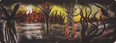 Peter Booth, 'Drawing (landscape with pyres of purification)', 1983