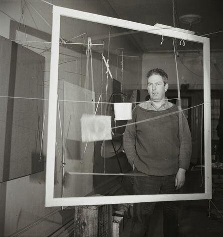 Herbert Matter, 'Calder with the frame for Snake and the Cross (1936) in his New York City storefront studio, winter 1936. ', Winter 1936