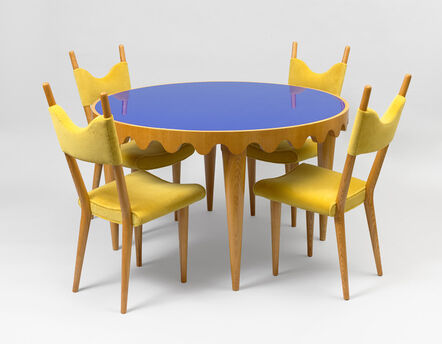"""Jean Royère, 'Set of """"Baltique"""" chairs with """"Ondulation"""" table', ca. 1950"""