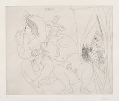 Pablo Picasso, 'Raphaël et la Fornarina V: avec voyeur écartant le rideau (Raphael and Fornarina, With Voyeur Pulling Back the Curtain), pl. 300, from 347 Series (Bl. 1780, Ba. 1797)', 1968