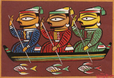 Jamini Roy, 'Untitled (Three Boatmen)'