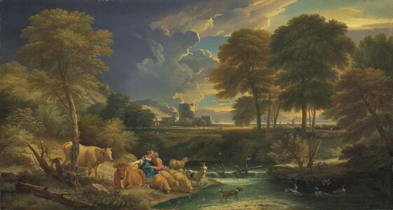 Pieter Mulier, il Cavaliere Tempesta, 'An extensive river landscape with figures and their cattle and sheep resting by a stream, a ruined castle beyond'