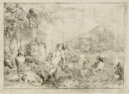 Giovanni David after Giovanni Benedetto Castiglione, 'Landscape with a Satyr Family and Classical Sculpture', 1775/1776