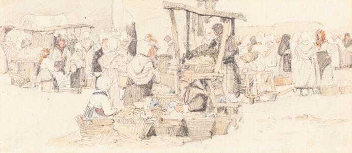 Samuel Prout, 'An Outdoor Market'