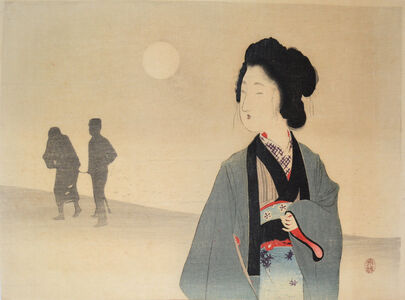 Tomioka Eisen, 'Woman Looking at Silhouette of a Prisoner', ca. 1900