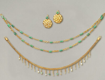 Unknown Roman, 'Ancient Roman Polychrome Jewelry Set in Gold, Pearls and Precious Stones', 1st-2nd Century A.D.