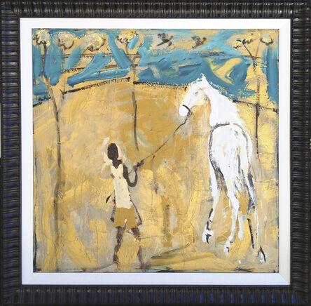 John Maitland, 'Boy with white horse and turquoise sky', 2013