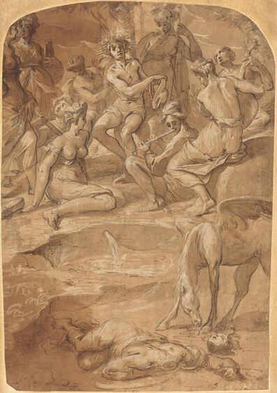 Johann Christoph Storer, 'Apollo and the Muses on Mount Parnassus', ca. 1650
