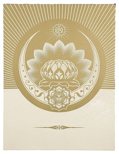 Shepard Fairey, 'Obey Lotus Crescent (White & Gold)', 2013