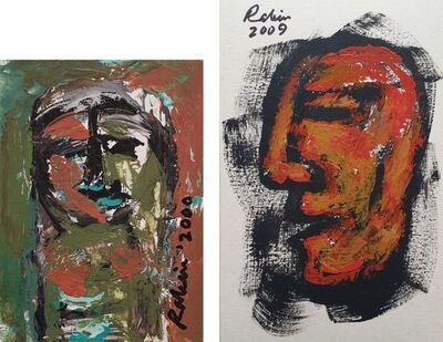"""Rabin Mondal, 'Head, Acrylic on Board, (Set of Two) by Modern Artist """"In Stock""""', 2000-2009"""