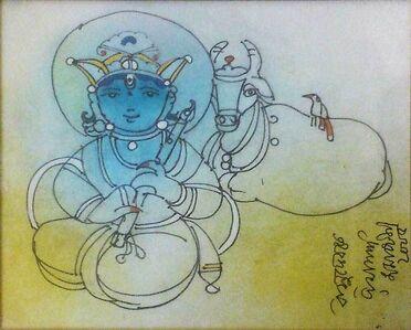 "Ramananda Bandyopadhyay, 'Vasudev, Mixed Media on Paper, Blue, Green Colours by Modern Artist ""In Stock""', 2005"