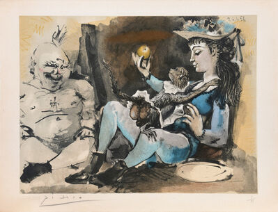 Pablo Picasso, '(Woman with Monkey and Buddha.) Untitled from Suite de 15 dessins de Picasso. ', 1954