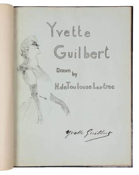 Henri de Toulouse-Lautrec, 'Yvette Guilbert (portfolio of eight lithographs with cover; cover and frontispiece bound together with front matter in binding by Rene Aussourd)', 1898