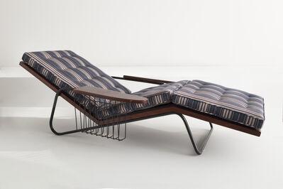 Joaquim Tenreiro, 'Upholstered chaise in mahogany and wrought iron', 1950