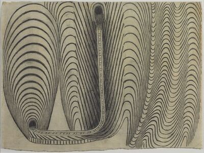 Martín Ramírez, 'Untitled (Black and White Tunnels with Train Tracks)', 1950