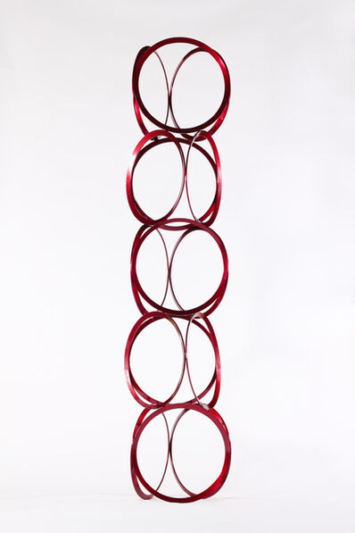 Shayne Dark, 'Drawing in Space - Tall, bright red, geometric abstract, coated steel sculpture', 2016