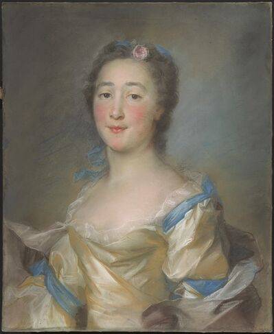 Jean-Baptiste Perronneau, 'A Young Lady in a Yellow Gown with Blue Ribbons', ca. 1767