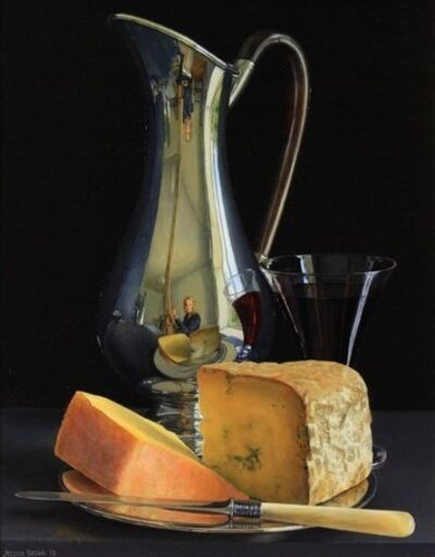Jessica Brown, 'Still Life with Silver Art Nouveau Jug, Dorset Blue Vinny and Ogleshield Cheese', 2018