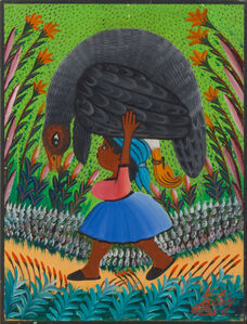 Jacques-Richard Chery, 'Child with guinea fowl', ca. '80