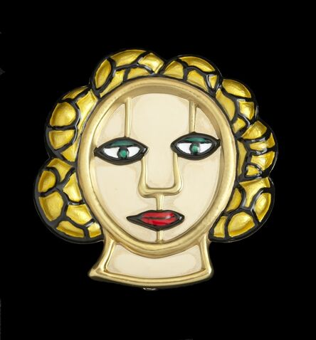 "Niki de Saint Phalle, '""Tete"" gold and enamel pendant/brooch', 1982"