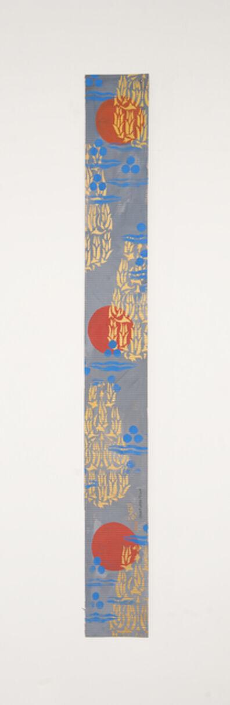 Chant Avedissian, 'B6 - 3 red circles on blue background, 5 Bukhara floral patterns', 2016