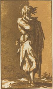 John Skippe after Parmigianino, 'Male Saint Standing with Folded Arms, Facing to the Right', 1781