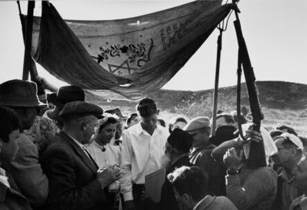 """David """"CHIM"""" Seymour, 'Wedding under an improvised wedding canopy made with guns and pitchforks, Israel', 1952"""
