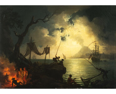 Pierre-Jacques Volaire, 'A Nocturnal Mediterranean Coastal Scene, with Vesuvius in the Background ', 1750 -1780