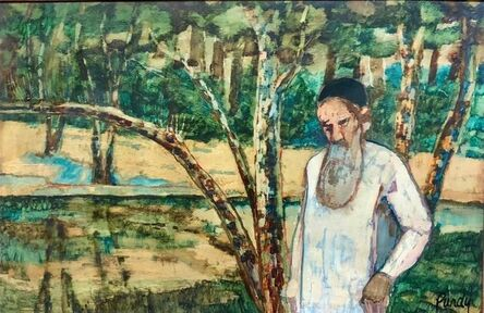 Donald Roy Purdy, 'Judaica Meditative Rabbi at Prayer in Nature, Large Landscape Oil Painting', 20th Century