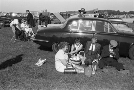 Homer Sykes, 'A day at the races, Derby Day picnic horse racing at Epsom Downs, Surrey', 1970