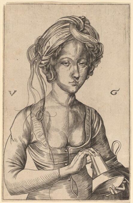 Urs Graf I after Martin Schongauer, 'A Bust Figure of a Foolish Virgin  Holding Her Inverted Lamp'