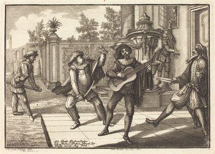 Johann Balthasar Probst after Johann Jacob Schübler, 'Scaramouche Distracts Pantalon', 1729