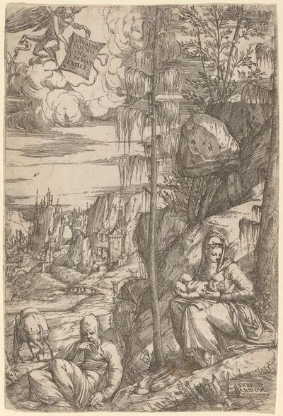 Sebastiano de Valentinis, 'Landscape with the Rest on the Flight into Egypt'
