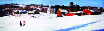 Herb Archer, 'Colorama 299, Christmas traditional skiers outside village, Burke Hollow, Vermont', Displayed 12/4/67–12/25/67