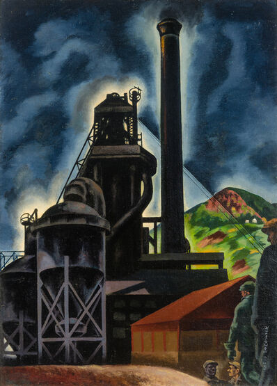 Louis Lozowick, 'Blast Furnace: Changing Shifts (Pittsburgh Landscape)', 1929-30
