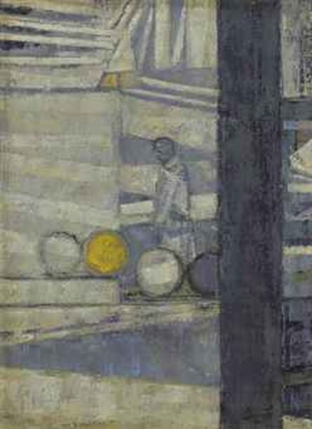 Prunella Clough, 'Barrels in a Yard', ca. 1955
