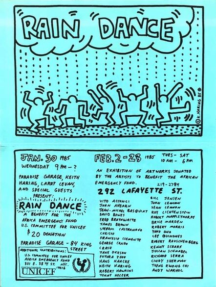 Keith Haring, 'Keith Haring Rain Dance poster (Keith Haring Paradise Garage) ', 1985