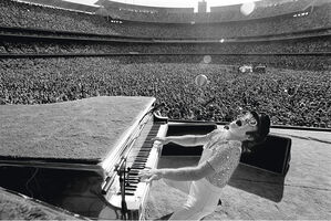 Terry O'Neill, 'Elton John, Dodgers Stadium - Black & White', 1975